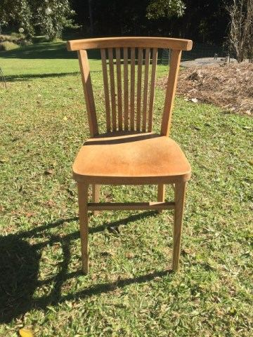 Mismatched timber cottage chairs $10