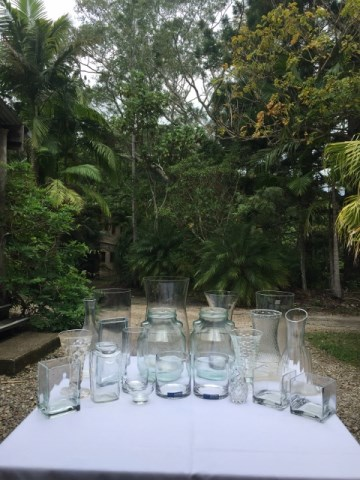 Glass vases $5, Jars 50c